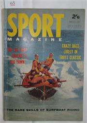 Sale 8431B - Lot 65 - Front cover and Article, Down the Mine, The Rare Skills of surfboat Riding. 4 pages in Sport Magazine, February 1963