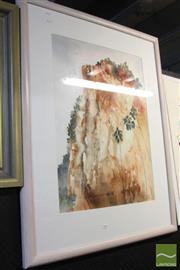 Sale 8468 - Lot 2040 - Terry Swan (XX) Carnarvon Gorge, watercolour, signed lower right, 109 x 86cm (frame size)