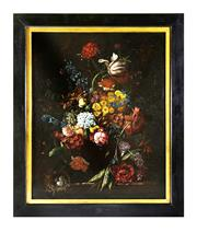 Sale 8912H - Lot 16 - 18th Century Dutch school still life. Oil on re lined canvas showing overall craquelure in a later black lacquer frame. 65 x 80 cm