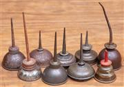Sale 8984H - Lot 54 - A collection of nine miniature oil pourers, Height 15cm