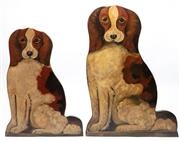 Sale 9040H - Lot 68 - A pair of two dimensional painted timber dogs, tallest 62cm