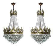 Sale 9040H - Lot 45 - A pair of vintage French gilt bronze and crystal basket or bag chandeliers, overall size without chain approx.. 80 x 42 cm