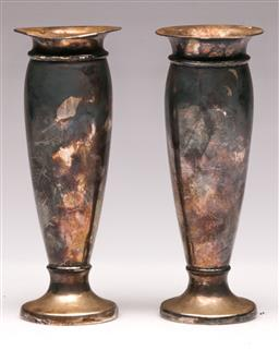 Sale 9110 - Lot 321 - Pair of Hallmarked Sterling Silver Vases (H 15cm)