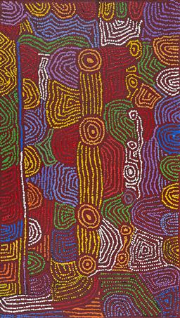 Sale 9148A - Lot 5077 - MAISIE CAMPBELL NAPALTJARRI (1958 - ) Women's Ceremony, 2014 acrylic on linen 131 x 74 cm (stretched and ready to hang) inscribed, d..