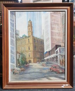 Sale 9155 - Lot 2040 - Artist Unknown Lower Pitt St. 1977 oil on canvas board 91 x 74cm, signed, dated and inscribed indistinctly verso -