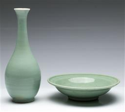 Sale 9164 - Lot 96 - A Celadon incised bowl (Dia:20cm) together with a vase (H:23cm)