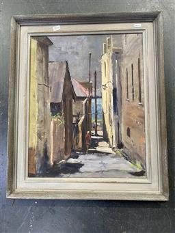 Sale 9159 - Lot 2014 - Peter Timbs Harrington Place, The Rocks oil on canvas board frame: 64 x 63cm, signed lower left -