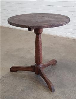 Sale 9166 - Lot 1076 - Small round timber table (h:72 x d:66cm)