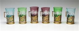 Sale 9192 - Lot 96 - Set of Six Russian Silver Based and Bohemian Glass Tumblers (H:14cm)