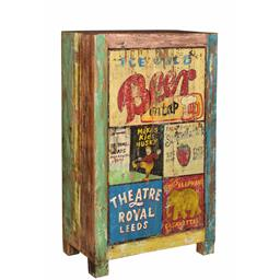 Sale 9216S - Lot 38 - A small rustic two door cabinet with vintage advertisements theme to doors, Height 120cm x Width 75cm x Depth 36cm