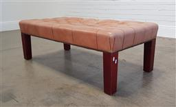 Sale 9255 - Lot 1270 - Leather button top stool on timber legs (h:42 w:123 d:61cm)