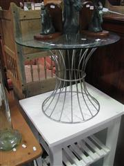 Sale 7974A - Lot 1089 - Glass Top Side Table w Metal Base