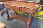 Sale 8255 - Lot 1096 - Victorian Mahogany Side Table, with shaped top, a drawer & turned legs