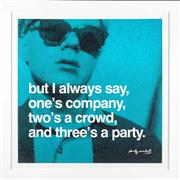 Sale 8471H - Lot 35 - Andy Warhol - After the Original, But I Always Say, Ones Company, Twos a Crowd and Threes a Party