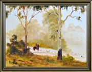Sale 8408 - Lot 525 - Kevin Best (1932 - 2012) - Untitled (Mustering at Dusk) 34.5 x 60cm