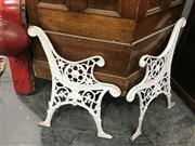 Sale 8889 - Lot 1359 - Pair of Garden Bench Ends
