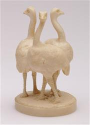 Sale 9044 - Lot 16 - Antique Ivory Figural Group Of Three Ostriches Signed Teruyuki To Base H: 9.5cm