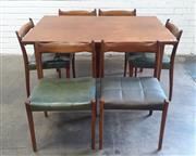 Sale 9092 - Lot 1076 - Teak Extension dining table with 6 matched chairs (h:73 x w:134 x d:90cm)