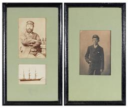 Sale 9130E - Lot 5 - Two framed military photographs, one of W.L Mason at age 14 in uniform of trinity house navigation school at hull c.1890, and anothe...