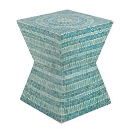 Sale 9140F - Lot 6 - An angular built square pedestal stool featuring a linear design and Capiz inlay. Dimensions: W35 x D35 x H45 cm