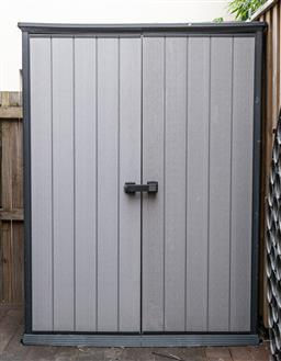 Sale 9160H - Lot 260 - A Keter two door durable shed, Height 182cm x Width 134cm x Depth 70cm