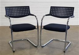 Sale 9188 - Lot 1053 - Pair of fabric upholstered dining chairs over sled bases for Vitra (h80 x w55 x d58cm)