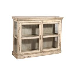 Sale 9216S - Lot 8 - A white washed teak and glass display cabinet with two doors, Height 100cm x Width 138cm x Depth 38cm
