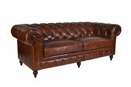 Sale 9245T - Lot 53 - A three seat traditional style Chesterfield sofa in premium, natural hand aged leather, with a brass stud trim, buttons and darkened...
