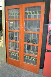 Sale 8115 - Lot 1013 - Two LeadLight Glass Doors (a.f)