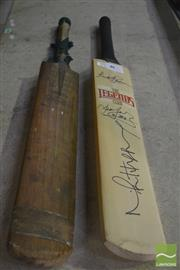Sale 8200A - Lot 3016 - Len Hutton Banded 364 Bat, t/w a bat signed by Richard Hadlee, Dean Jones and Mike Hussey (2)