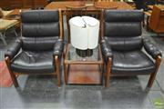 Sale 8326 - Lot 1055 - Pair of Timber Framed Chairs with Leather Upholstery