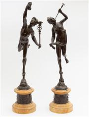 Sale 8590A - Lot 25 - A pair of spelter figures of classical Greek figures, Hermes (Mercury) and Artemis (Diana), on butterscotch marble socle bases,...