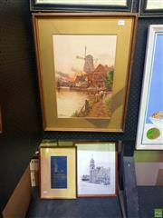 Sale 8631 - Lot 2048 - 3 Works: A.Jenkins - Post Office, Geelong; Oriental Drawing, Signed Print & a Windmill Print -