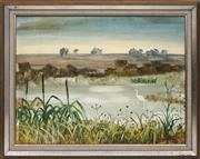 Sale 8716 - Lot 2027 - Henry Bell (1927 - ) - Egret in Lagoon, 1970 44 x 59.5cm