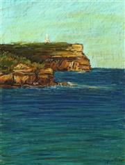 Sale 8753 - Lot 2033 - Sergio Sill (1946 - ) - Lighthouse & Majestic Cliffs of Jervis Bay 50 x 38cm