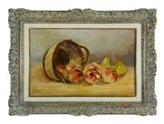 Sale 8912H - Lot 74 - Antique French school - Still Life of Apples oil on canvas on board signed 40 x 62cm
