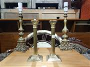 Sale 9009 - Lot 1008 - Pair of Brass Candlesticks and Table Lamps