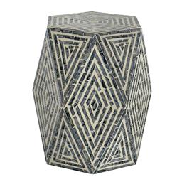 Sale 9140F - Lot 7 - A hexagonal pedestal stool featuring blue/grey and white patterning and Capiz inlay. Dimensions: W40 x D35 x H46 cm