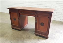 Sale 9162 - Lot 1039 - Late Victorian Inlaid Walnut Desk, fitted with a drawer & two timber panel doors - missing one back leg (H: 76 x W: 141 x D: 57 cm)