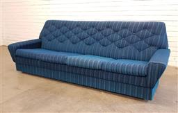 Sale 9151 - Lot 1136 - Vintage 3 seater lounge in electric blue upholstery (h:83 x w:228 x d:80cm)
