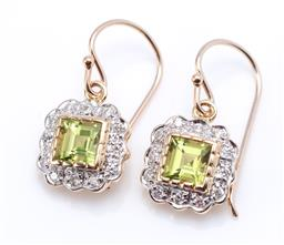 Sale 9194 - Lot 342 - A PAIR OF 9CT GOLD PERIDOT AND DIAMOND CLUSTER EARRINGS; each centring a carre cut peridot to surround of 12 round brilliant cut dia...
