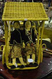 Sale 8058 - Lot 1088 - Javanese Dolls of a Wedding Couple riding in a Becak