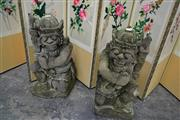 Sale 8159 - Lot 1007 - Pair of Indonesian Carved Sandstone Temple Gods