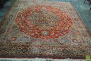 Sale 8291 - Lot 1004A - Persian Style Machine Made Carpet, with medallion on salmon ground (damage to corner) (283 x 232cm)