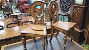 Sale 8375 - Lot 1010 - Pair of Oak Hall Chairs