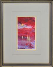 Sale 8365A - Lot 95 - Patrick Carroll (1949 - ) - Red Sky and Moon Rise, Sydney Harbour 14 x 8cm