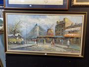 Sale 8422T - Lot 2039 - Burnett, Street Scene, oil on canvas on board, 59 x 120cm, signed lower right
