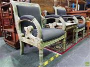 Sale 8570 - Lot 1017 - Pair of Heavily Carved Armchairs