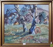 Sale 8600 - Lot 2007 - Keith Roggenkamp Old Wheels & Gum Tree oil on canvas on board, 43 x 49cm, unsigned