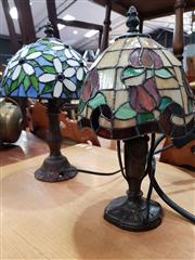 Sale 8717 - Lot 1073 - Leadlight Shade Table Lamps x 2